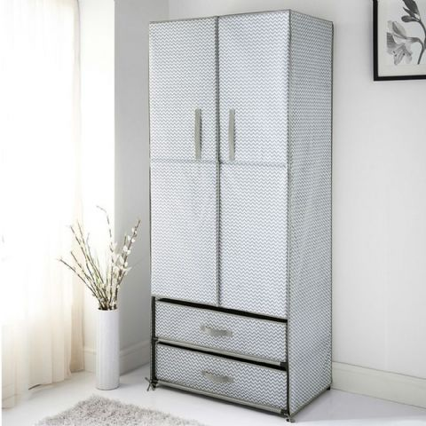 Grey Zig Zag Print Wardrobe & Drawers Unit
